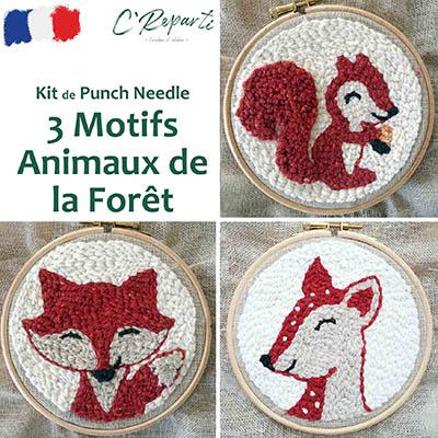 kit punch needle ecureuil biche renard