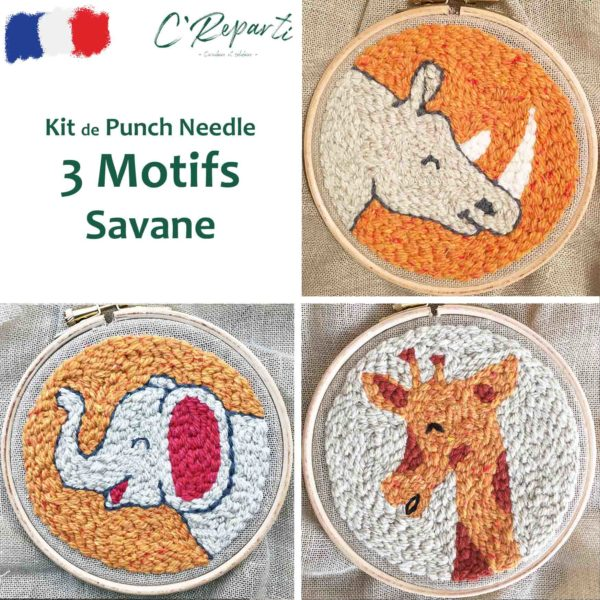 kit punch needle elephant girafe rhinoceros