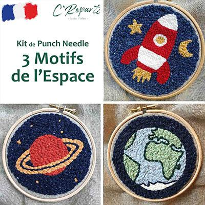 kit punch needle espace fusee saturne planete terre