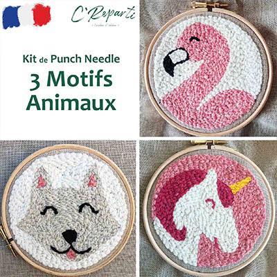 kit punch needle flamant rose licorne chat