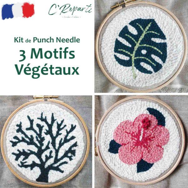 kit punch needle fleur corail feuille