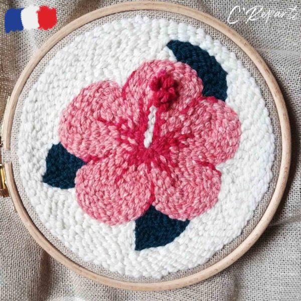 kit punch needle hibiscus fleur