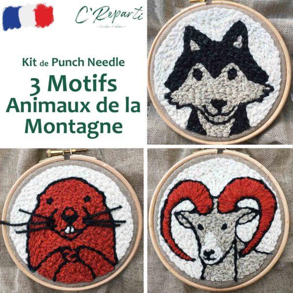 kit punch needle loup marmotte moufflon