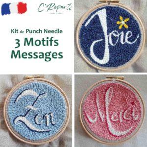 Kit Punch Needle 3 Motifs Messages joie zen merci
