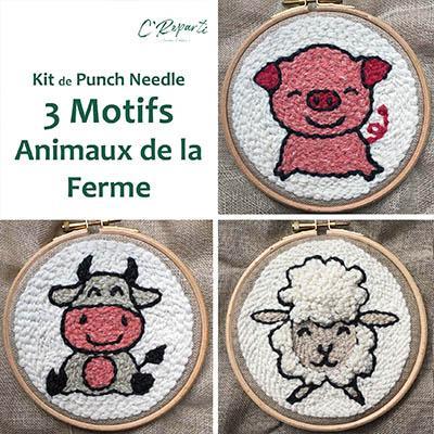 kit punch needle mouton vache cochon