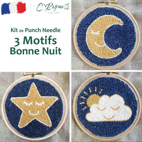 kit punch needle nuage lune etoile