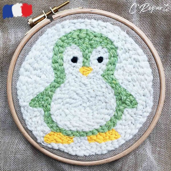 kit punch needle pingouin vert