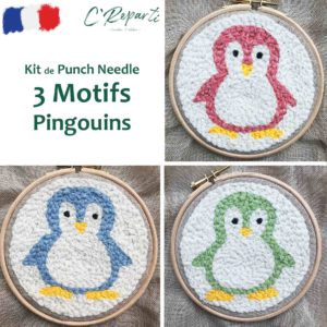 Kit Punch Needle 3 Motifs Pingouins