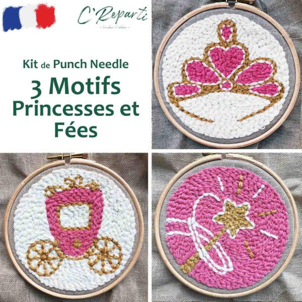 kit punch needle princesse couronne diademe carrosse baguette magique