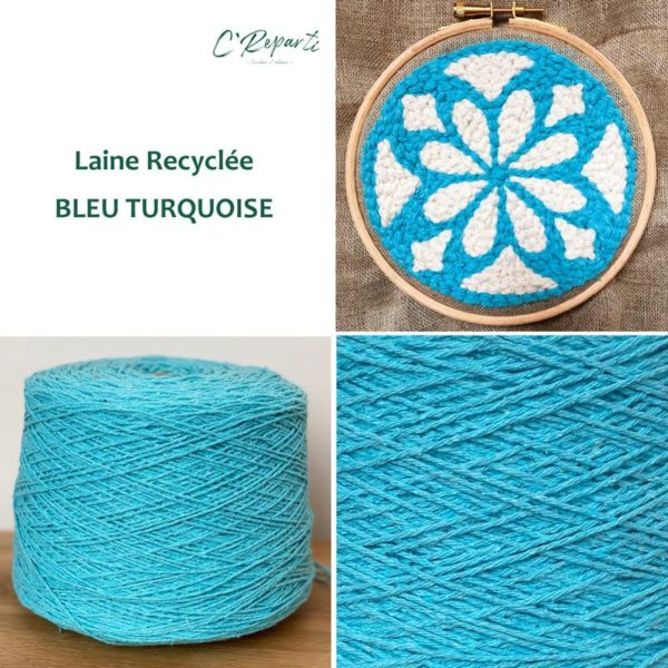 laine recyclee bleu turquoise