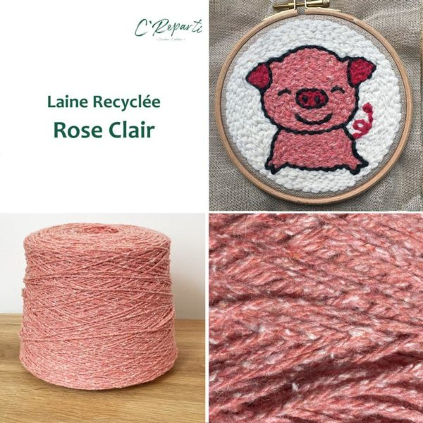 laine recyclee rose clair