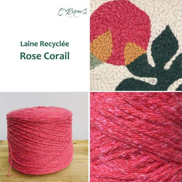 laine recyclee rose corail
