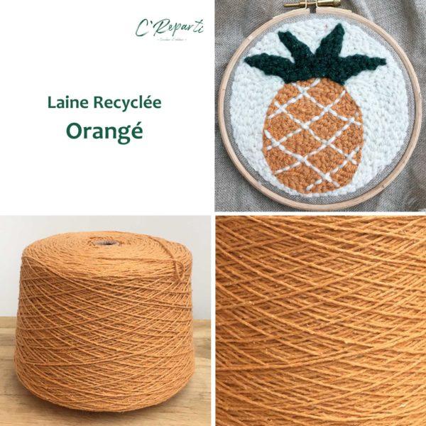 laine recyclee orange