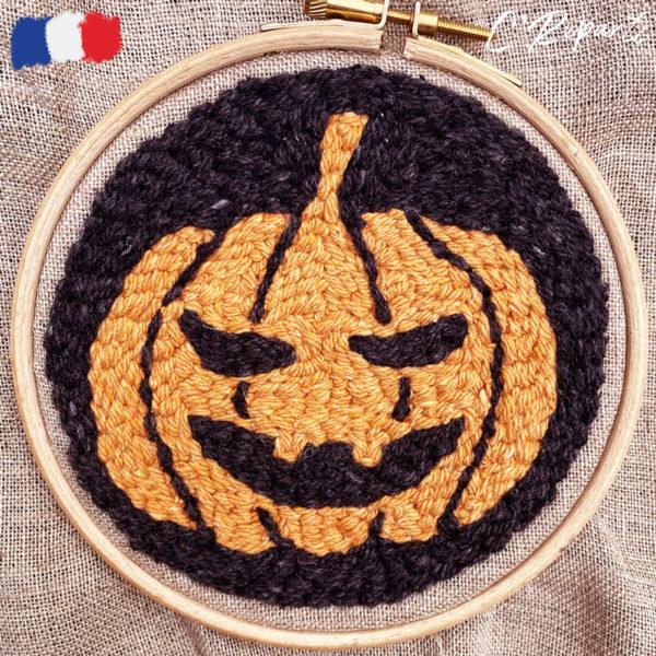 kit punch needle citrouille halloween