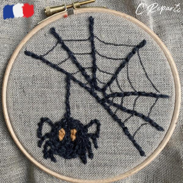 kit punch needle halloween araignee