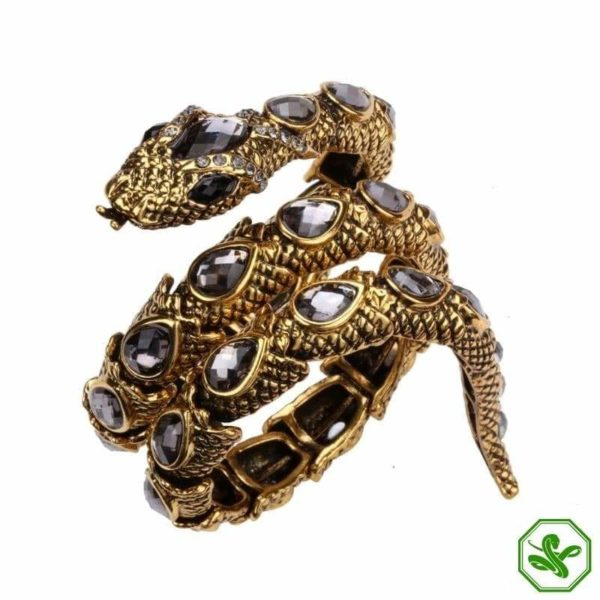 gold and gray snake arm bracelet