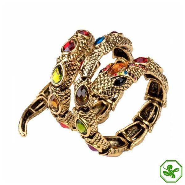 gold and multicolor snake arm bracelet
