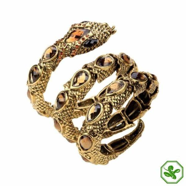 Gold snake arm bracelet