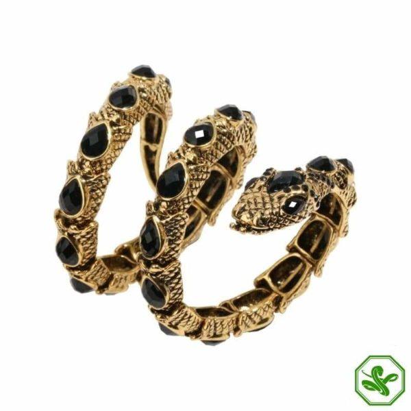 gold ans black snake arm bracelet