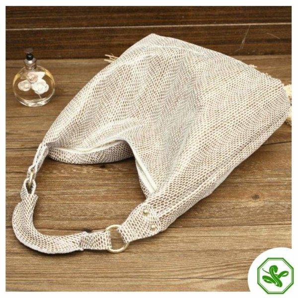 Beige Snake Print Bag 5