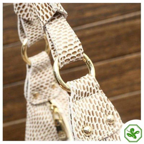 Beige Snake Print Bag 6