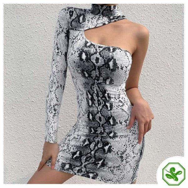 Black And White Snake Print Dress 2