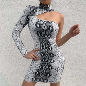 Black And White Snake Print Dress 1
