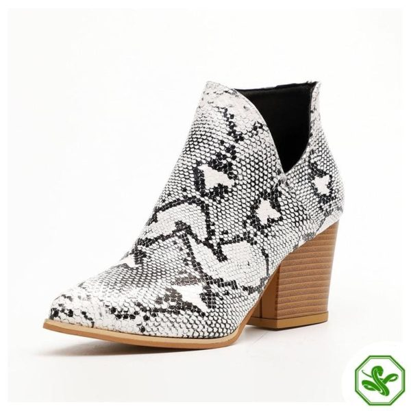 Black and White Snakeskin Boots 7