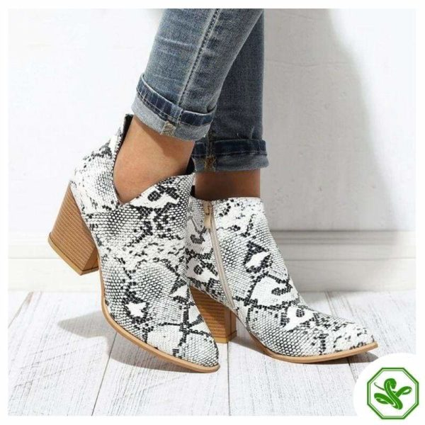 Black and White Snakeskin Boots 4
