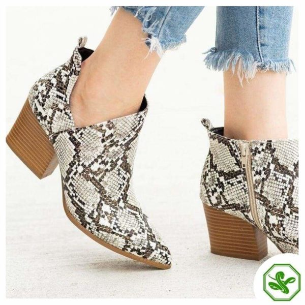 Black and White Snakeskin Boots 5