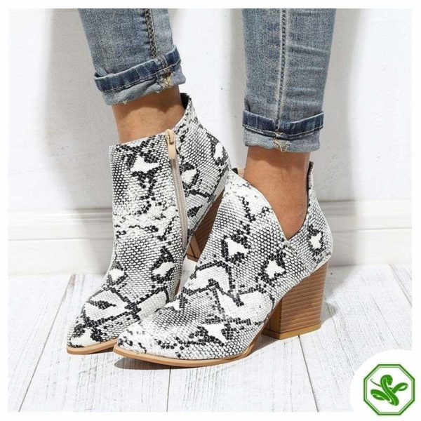 Black and White Snakeskin Boots 3