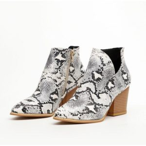 Black and White Snakeskin Boots 1