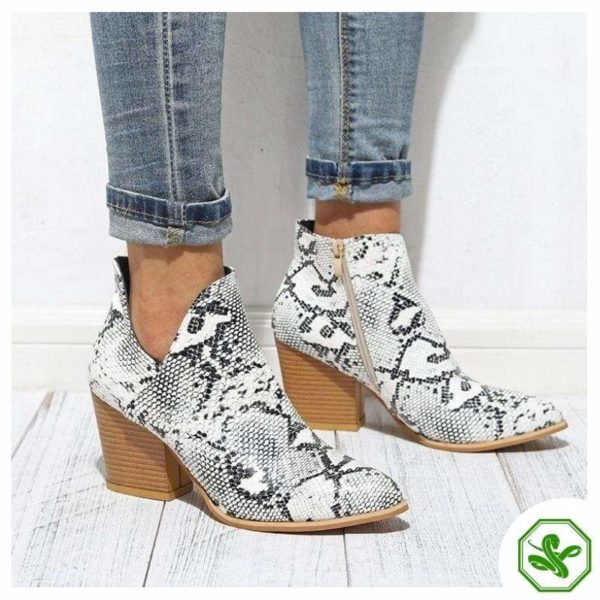 Black and White Snakeskin Boots 2