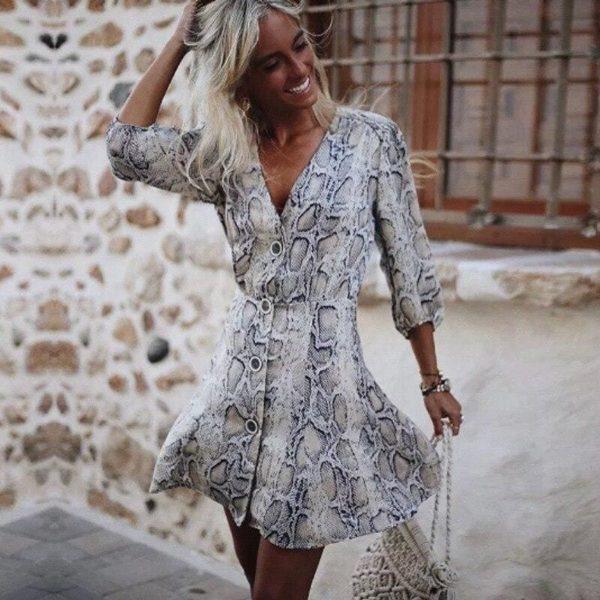 Black And White Snakeskin Dress 1
