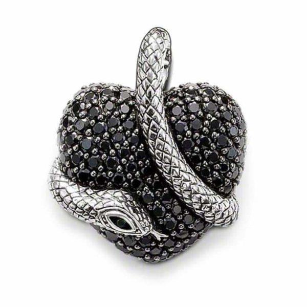 dark heart snake pendant