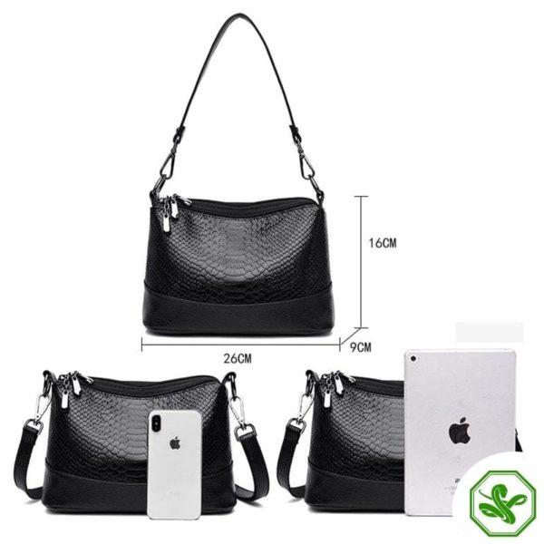 black python bag size