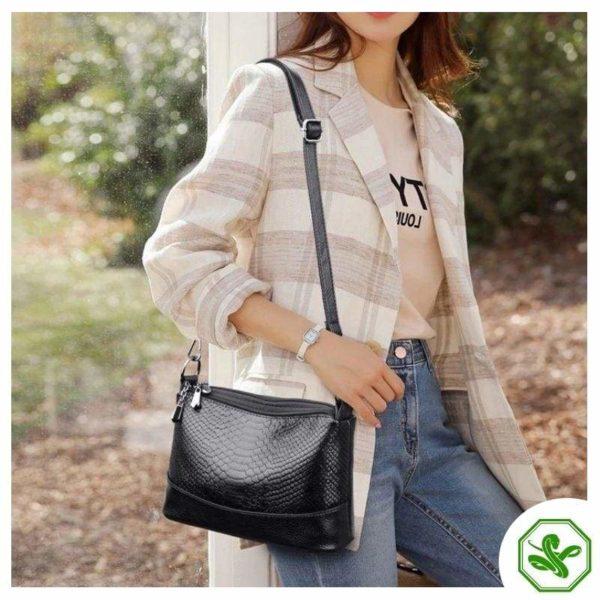 women's black python bag