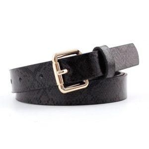 Women's black leather belt gold buckle