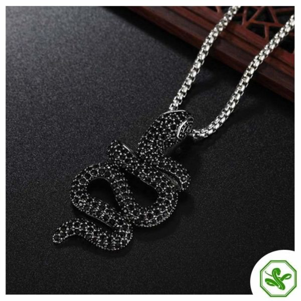 snake pendant black pave