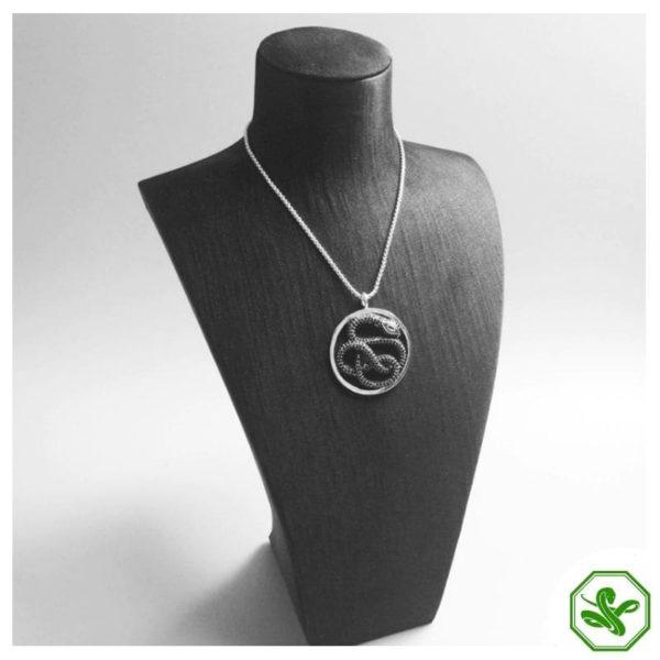 silver black snake pendant