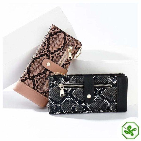 Pink & Black Snakeskin Wallet