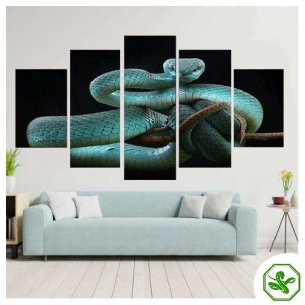 Snake Painting Coral Blue