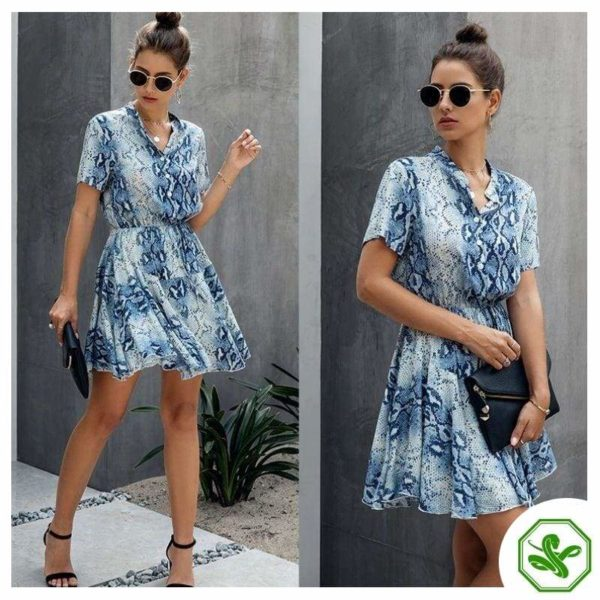 Women's Blue Snakeskin Dress