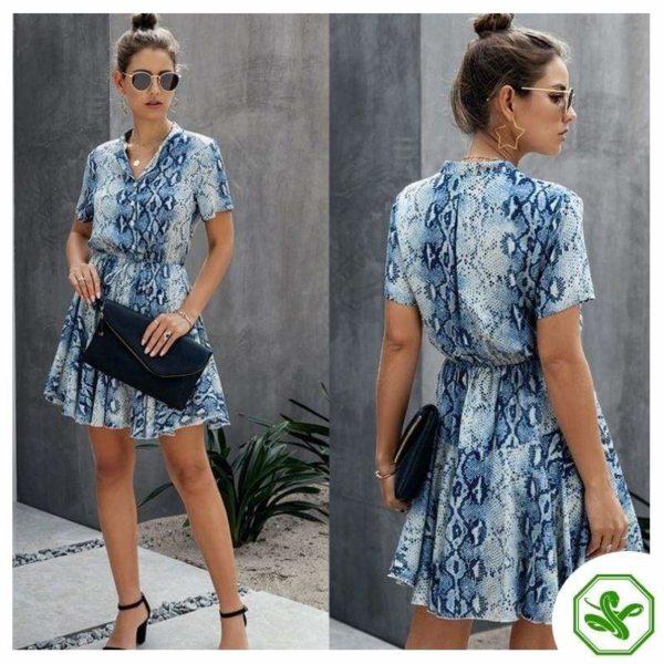 Blue and White Snakeskin Dress