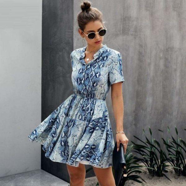 Blue Snakeskin Dress