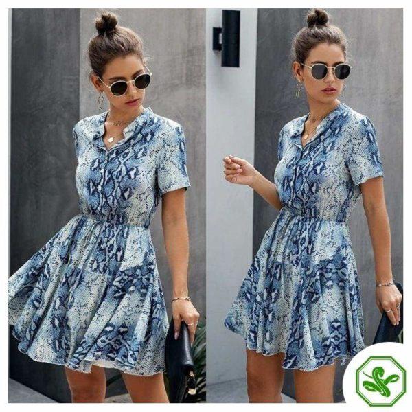 Blue Snakeskin Dress for Woman