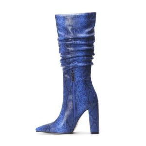 Blue Snakeskin Knee High Boots 1