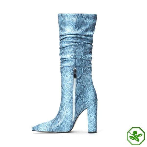 Blue Snakeskin Knee High Boots 4