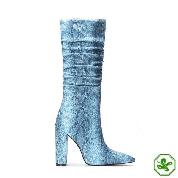 Blue Snakeskin Knee High Boots 3