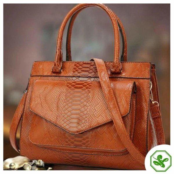 Brown Snake Print Bag 9